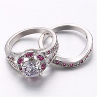 High Quality Vintage White Ruby Ring Red Crystal Cocktail Ri...