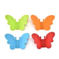 Nueva Moda Multicolor Forma de Mariposa de Silicona Pot Holder Guantes Resistentes al Calor Dish Tray Clip Herramienta de Cocina LX3753
