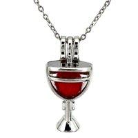 الفضة النبيذ الزجاج الكأس الفائز الجوف الناشر الضروري النفط المدلاة الروائح الخرز لؤلؤة المحار قفص قلادة قلادة-بوتيك هدية