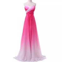 2018 Nueva Sexy Barato Ombre vestidos largos de baile gasa A Line Plus Size palabra de longitud fiesta de noche formal Celebrity vestido de dama de honor QC1231
