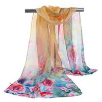 nuova donna sciarpa lunga arab hijab Fiore rosa stampa seta chiffon poliestere sciarpe moda scialle 160cm * 50cm Summer Beach Cover