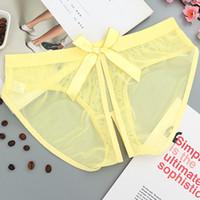 여성 오픈 가랑이 속옷 섹시 팬티 seethrough bow Briefs 여성 메쉬 intimates 챠밍 낮은 bragas 5005n