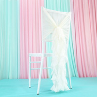 150 unids Nuevo Diseño CREMA COLOR Pre-atado Willow Chair Normal Banquet Chiavari Chair Sash Con Freely Wedding Decoration