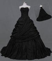 Vestidos de boda del vestido de bola de Quinceanera sin tirantes negro gótico para el partido de encargo más tamaño vestido formal de la ocasión de la boda