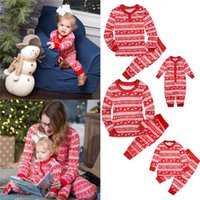 a2625dd0e7 Christmas Kids Adults Family Matching Deer Snowflake Striped Pajamas  Nightwear Xmas Parents-Child Pyjamas Bedgown Nightwear 2pcs Outfit