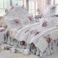 4 pcs Estilo Coreano Bege Princesa Conjunto de Cama de Luxo Rose Impressão Quilt Rendas Colchas babados Colcha Lençol de Algodão Rainha Rei tamanho