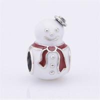 5 pezzi / lotto Charms di Natale S925 Sterling Silver adatti per braccialetti di stile originale Felice pupazzo di neve, smalto rosso bianco 791406Inmx H9