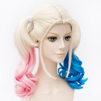 Synthetic Long Wavy Blonde Pink Blue Ombre Batman Suicide Sq...