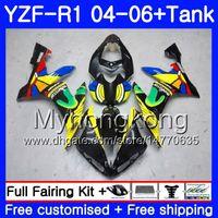 Corps + réservoir pour YAMAHA YZF R 1 YZF-1000 YZF 1000 arc-en-ciel jaune chaud YZFR1 04 05 06 232HM.9 YZF1000 YZF-R1 04 06 YZF R1 2004 2005 2006 Carénage