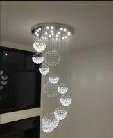 Роскошный высококачественный Кристалл K9 большой потолочный светильник для лобби, лестницы, длинная спиральная люстра свет блеск подвесная лампа LLF
