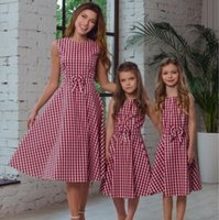 Mother daughter dresse Family Matching clothes Red Plaid Sle...