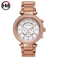 Mire el reloj de acero para mujer dama MK calendario lazada oro rosa al por mayor frontera cruzada Reloj