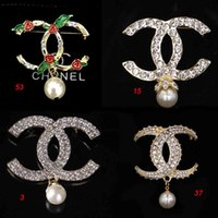 Elegant Women Pearl Pendant Brooches Double Layers Crystal C...