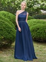ВМС Blue A-Line Style Chiffon Coral BrideMaid Платья Plus Размер Русалка Горничные платья для чести для свадебных совок шеи кружева Dressbm0148
