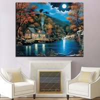 DIY Moon- lit Scenery Oil Painting By Numbers Village Canvas ...