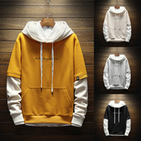 Harajuku Men Hoodies Fake Two Pieces Letters Hooded Sweatshi...