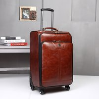 Men Business PU Leather Rolling Luggage Spinner Trolley Pass...