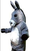 Kundenspezifisches graues Esel-Maskottchenkostüm kostenloser Versand
