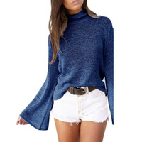 Women Sweater Charm Hollow Out Back Hole Strap Sweaters Autu...