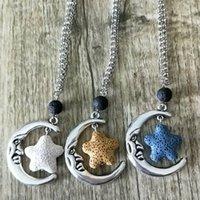 Старинные серебряный цвет Морская звезда Лава камень Луна диффузор ожерелье вулканический рок ароматерапия эфирное масло диффузор Ожерелье для женщин ювелирные изделия