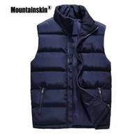 Mountainskin Moda Uomo Gilet 6XL Solid Slim Fit camice senza maniche Casual Male inverno Gilet Uomini Outerwears SA508