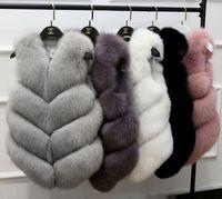 New Fashion Autunno e Inverno Donna Vestiti Faux Fox Fur Vest Donna lungo Vest Coat