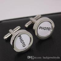Gemelos de boda de alta calidad con sus nombres o fotos de boda en el material de cobre 1pr por lote