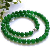 Natural jade necklace pure natural jade green Malay necklace...