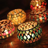 6 Style Spherical Glass Candle Holders Mosaic Crack Candlest...