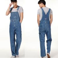 Erkek Artı Boyutu Tulum Büyük Boy Büyük Kot Önlüğü Pantolon Moda Cep Tulumlar Erkek Ücretsiz Kargo
