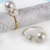 Mi Serviette Ring Gold Serviette elegante Serviettenring Silber mit Perle für Hochzeitsbankett Tischdekoration