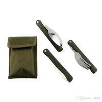 Conjuntos de Louça de Aço inoxidável Moda Exército Verde Longo Lidar Com Talheres Kit de Faca Resistente Garfo Colher Conjunto de Louça Eco Friendly 4 2xh ZZ