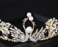Exquisite rhinestone pearl swan princess crown birthday crow...