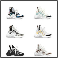 2019 Basket Archlight Sneakers Chaussures Argent Silver Archlight White Monogram Lace Logo Flat Trainer Sneaker Tamaño 35-46
