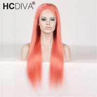 Full Lace Human Hair Wigs Orange yellow Colorful Wigs for Wo...