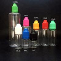 Оптовая продажа электронной жидкости бутылки 50 мл 100 мл пластиковые ясно ПЭТ глаз капельницы бутылки с защитой от детей крышки FEDEX DHL бесплатно