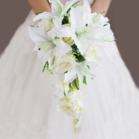 high- end custom wedding bouquet Lilies of the valley with ro...