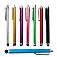 9.0 Penna touch screen 500Pcs Penne stilo capacitive in metallo con schermo Touch Pen per Samsung Iphone Tablet PC per cellulare 10 colori Fedex DHL