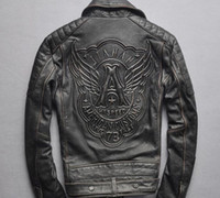 Men' s motorcycle leather jacket Frayed genuine leather ...