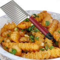 ارتفع البطاطا متموجة سكين الفولاذ الصلب أداة المطبخ الخضار الفاكهة قطع مقشرة أدوات الطبخ سكاكين المطبخ الملحقات c548