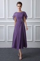 Purple Tea Length Mother Of The Bride Dresses With Wraps Ele...