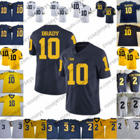 NCAA Michigan Wolverines # 10 Tom Brady Jersey Venda quente # 2 Charles Woodson Azul Marinho Branco Amarelo Costurado 2019 College Football Jersey S-3XL