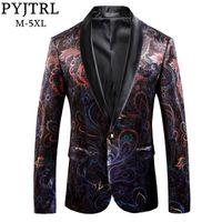 PYJTRL Marque Gentleman Luxe Rétro Vintage Châle Revers Blazer Homme Designs Slim Fit Floral Motif Manteau Hommes Casual Costume Veste