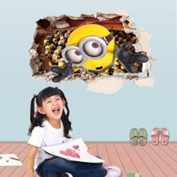 % 3D pvc cartoon despreciable 2 minions pegatinas de pared para habitaciones de niños en casa arte decorativo extraíble etiqueta de la pared Poster wallpaper