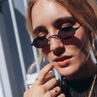 Yeni Trend Seksi Küçük Oval Güneş Gözlüğü Kadın Erkek Vintage Metal Çerçeve Küçük Yuvarlak Güneş Gözlükleri Kadın Shades Y263