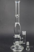 "Big Bong Glass Water Pipes Triple Matrix Perc Thick Recycler Bubbler Plataformas petroleras 14 ""pulgadas Dab Rig Black Lip Base Wrapped Beaker Hookahs"