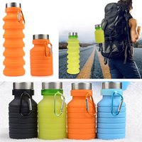 Fold Silicone Sport Water Bottle 550ML Outdoor Flexible Drin...