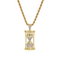 Hip Hop Iced Out Brass Gold Plateado Plateado 3D Reloj de arena colgante Collar Micro Pavimentado Collar para Hombres
