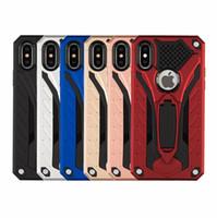Caso de telefone híbrido armadura kickstand para iphone x 8 7 6 plus case cavaleiro fantasma à prova de choque tpu + pc samsung s7 a6 casos cobrir