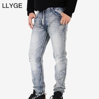 LLYGE Männer Graue Jeans 2018 Frühling Slim Fit Hip Hop Stretch Denim Jeans Männer Gerippt Moto Biker Extra Slim Fit Dropshipping